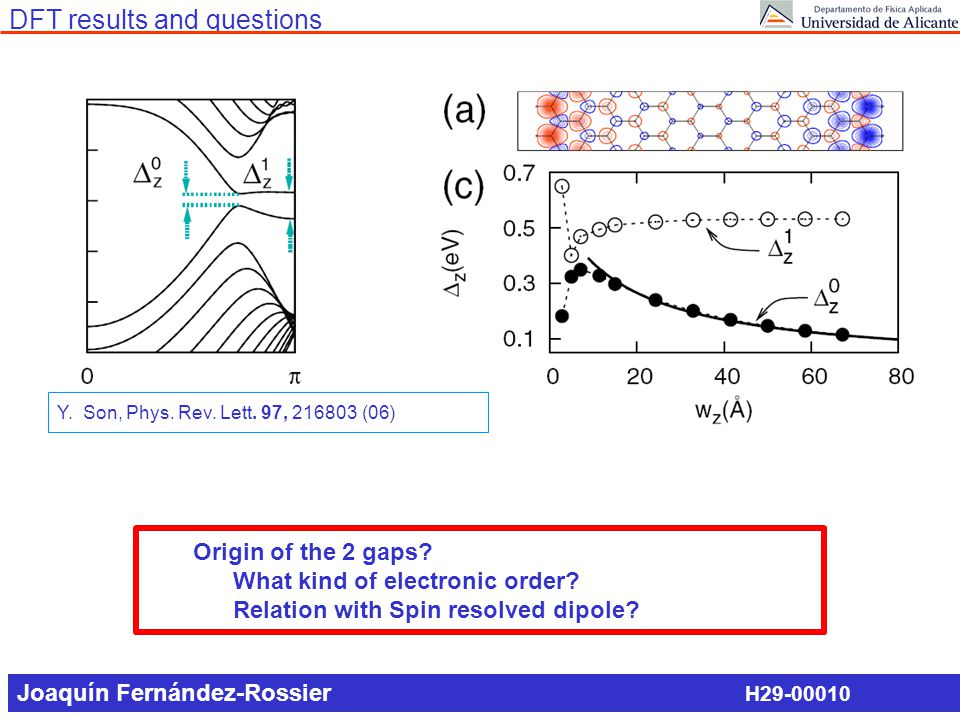 DFT results and questions Origin of the 2 gaps? What kind of electronic order? Relation with Spin resolved dipole? H29-00010 Y. Son, Phys. Rev. Lett.