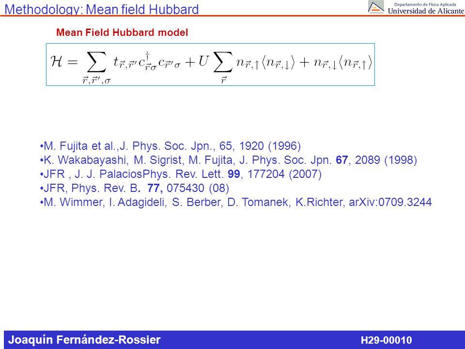 Methodology: Mean field Hubbard Mean Field Hubbard model M. Fujita et al.,J. Phys. Soc. Jpn., 65, 1920 (1996) K. Wakabayashi, M. Sigrist, M. Fujita, J
