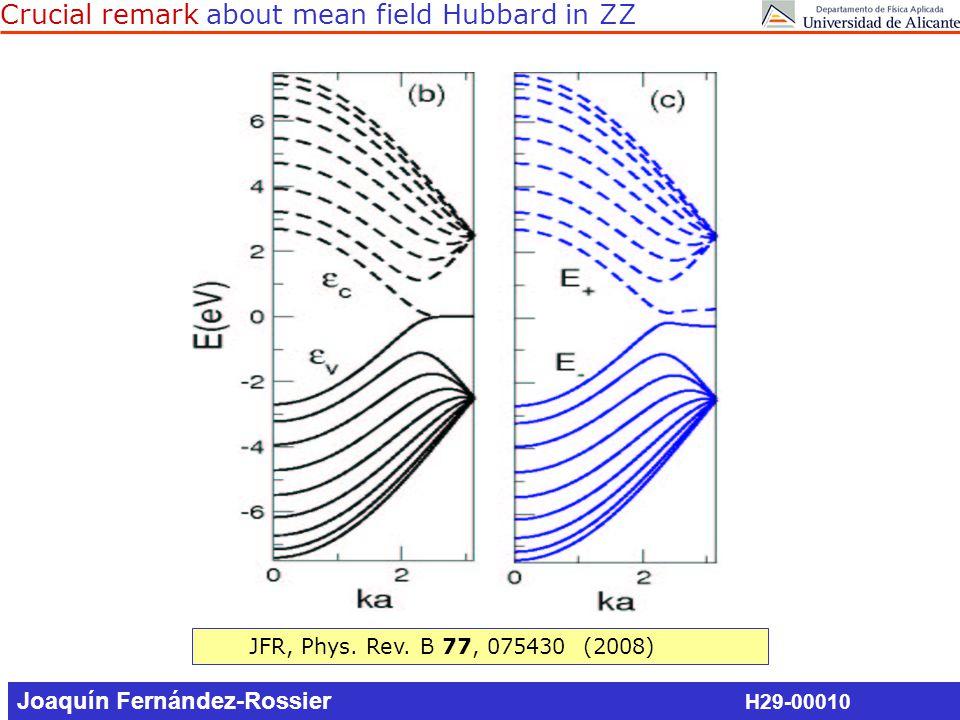 Summary J.Fernandez-Rossier, Phys. Rev. B 77, 075430 (2008) JFR, F.