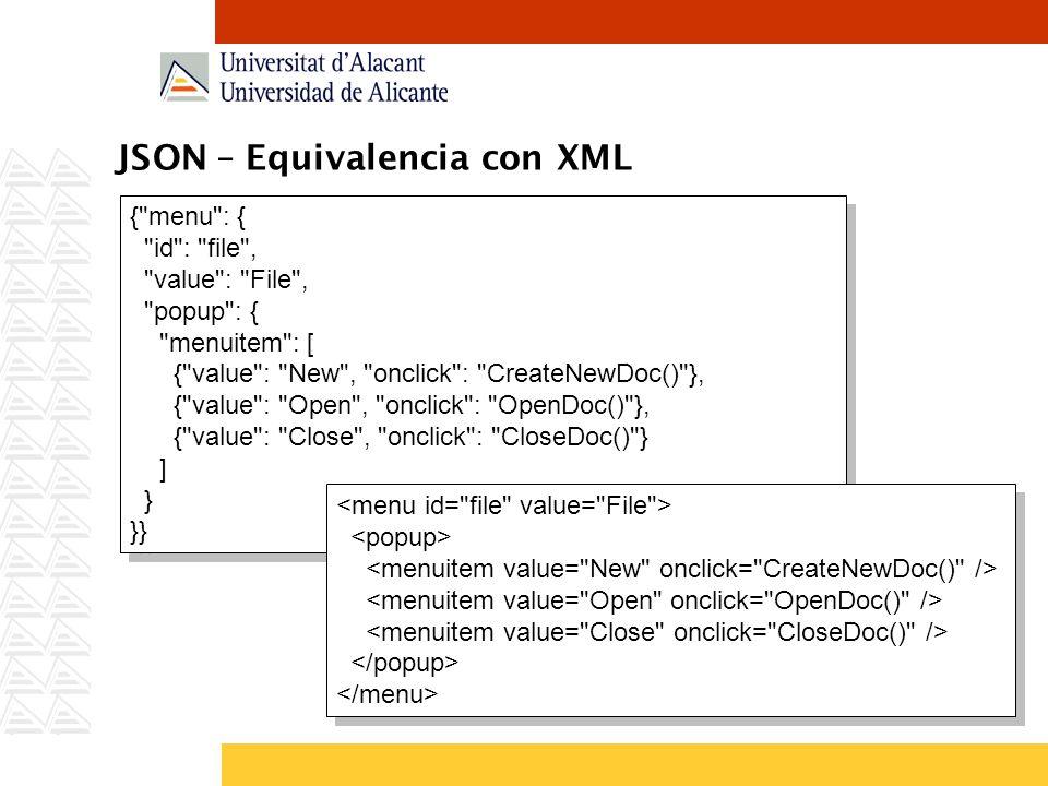 JSON – Equivalencia con XML { menu : { id : file , value : File , popup : { menuitem : [ { value : New , onclick : CreateNewDoc() }, { value : Open , onclick : OpenDoc() }, { value : Close , onclick : CloseDoc() } ] } }} { menu : { id : file , value : File , popup : { menuitem : [ { value : New , onclick : CreateNewDoc() }, { value : Open , onclick : OpenDoc() }, { value : Close , onclick : CloseDoc() } ] } }}