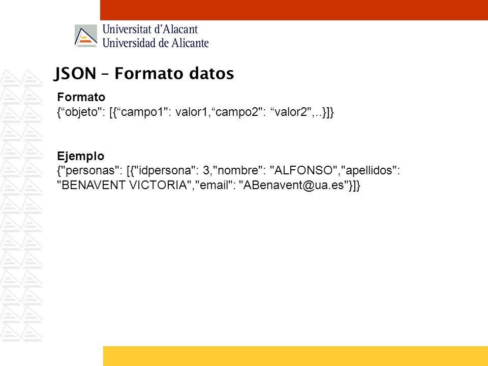 JSON – Formato datos Formato {objeto : [{campo1 : valor1,campo2 : valor2 ,..}]} Ejemplo { personas : [{ idpersona : 3, nombre : ALFONSO , apellidos : BENAVENT VICTORIA , email : ABenavent@ua.es }]}