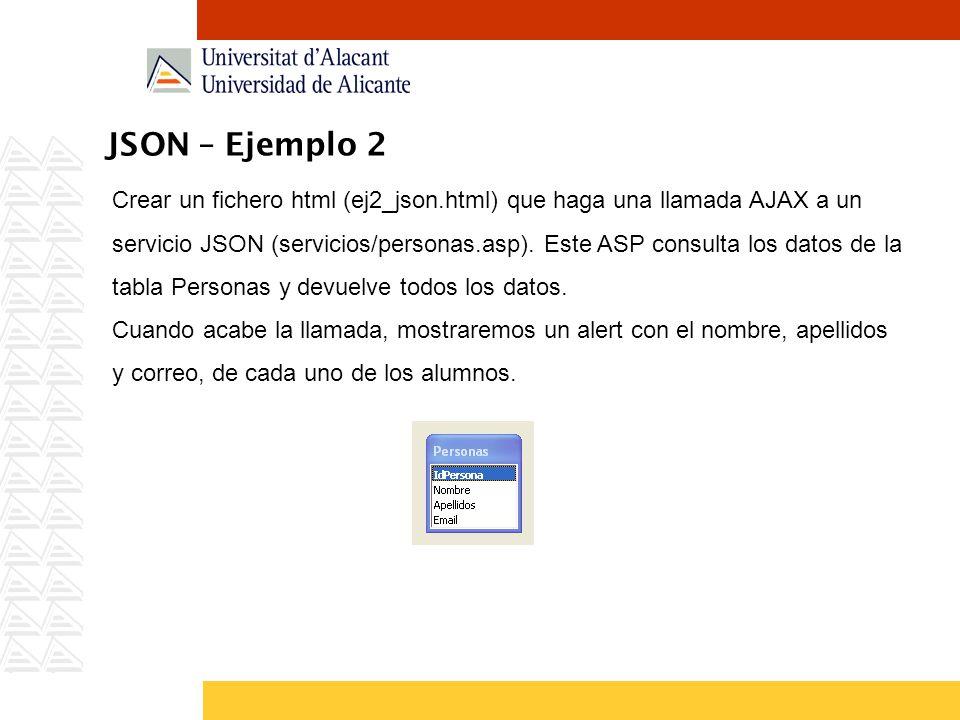 JSON – Ejemplo 2 Crear un fichero html (ej2_json.html) que haga una llamada AJAX a un servicio JSON (servicios/personas.asp). Este ASP consulta los da