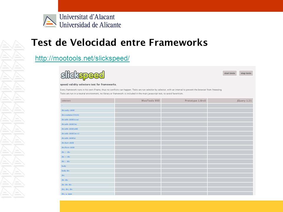 Test de Velocidad entre Frameworks http://mootools.net/slickspeed/