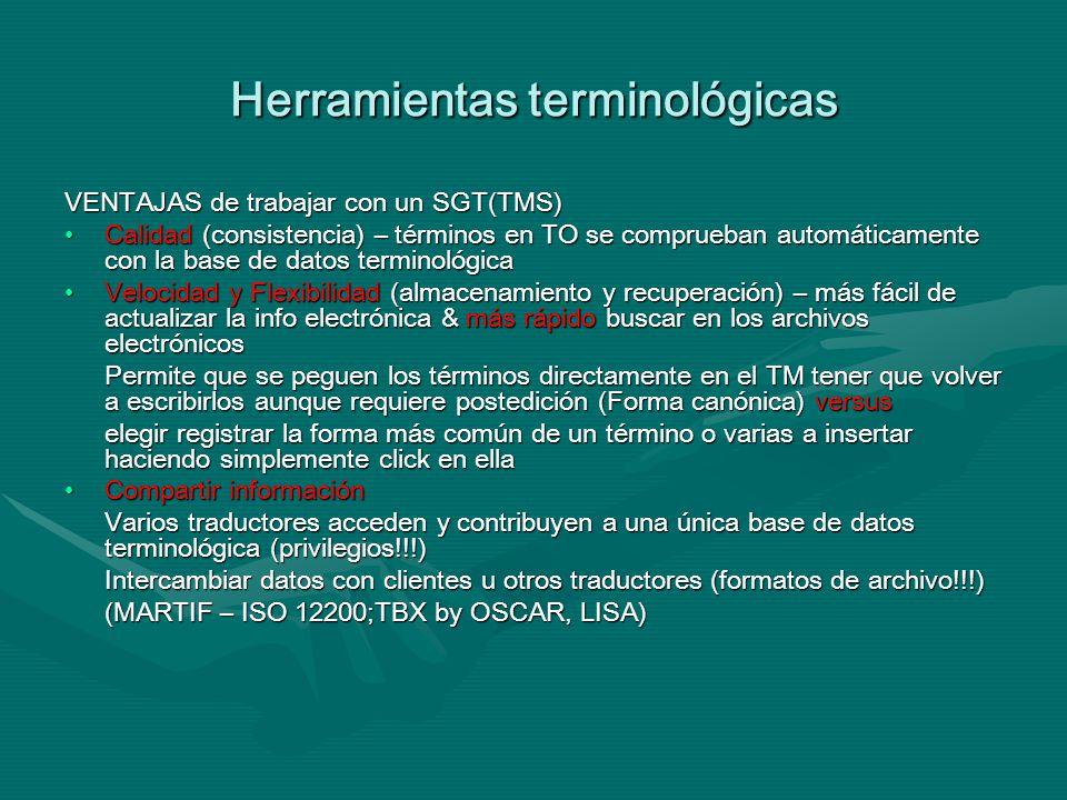 Herramientas terminológicas HERRAMIENTA DE EXTRACCIÓN DE TÉRMINOS (identificación/reconocimiento)HERRAMIENTA DE EXTRACCIÓN DE TÉRMINOS (identificación/reconocimiento) 1.¿Qué hacen.