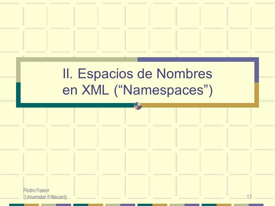 Pedro Pastor (Universitat d Alacant)13 II. Espacios de Nombres en XML (Namespaces)
