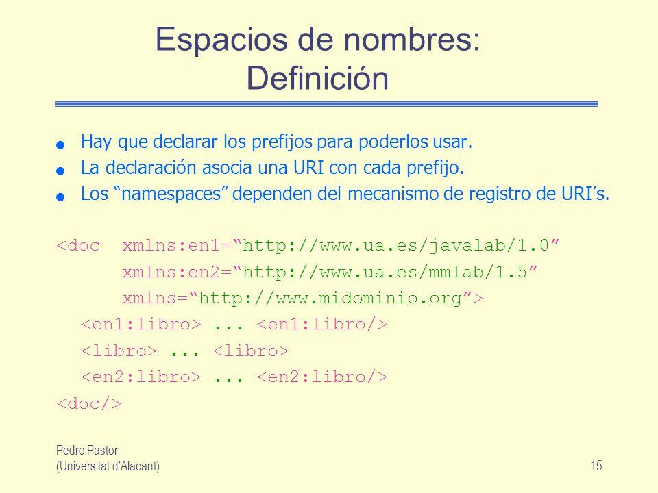 Pedro Pastor (Universitat d Alacant)15 Espacios de nombres: Definición Hay que declarar los prefijos para poderlos usar.