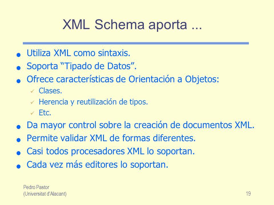 Pedro Pastor (Universitat d Alacant)19 XML Schema aporta...