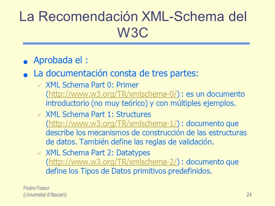 Pedro Pastor (Universitat d Alacant)24 La Recomendación XML-Schema del W3C Aprobada el : La documentación consta de tres partes: XML Schema Part 0: Primer (http://www.w3.org/TR/xmlschema-0/) : es un documento introductorio (no muy teórico) y con múltiples ejemplos.http://www.w3.org/TR/xmlschema-0/ XML Schema Part 1: Structures (http://www.w3.org/TR/xmlschema-1/) : documento que describe los mecanismos de construcción de las estructuras de datos.