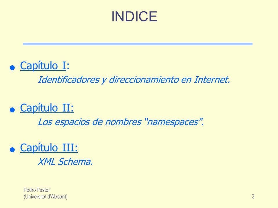 Pedro Pastor (Universitat d Alacant)3 INDICE Capítulo I: Identificadores y direccionamiento en Internet.