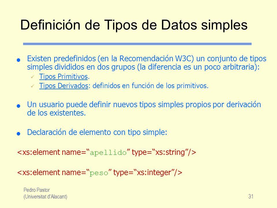 Pedro Pastor (Universitat d Alacant)31 Definición de Tipos de Datos simples Existen predefinidos (en la Recomendación W3C) un conjunto de tipos simples divididos en dos grupos (la diferencia es un poco arbitraria): Tipos Primitivos.