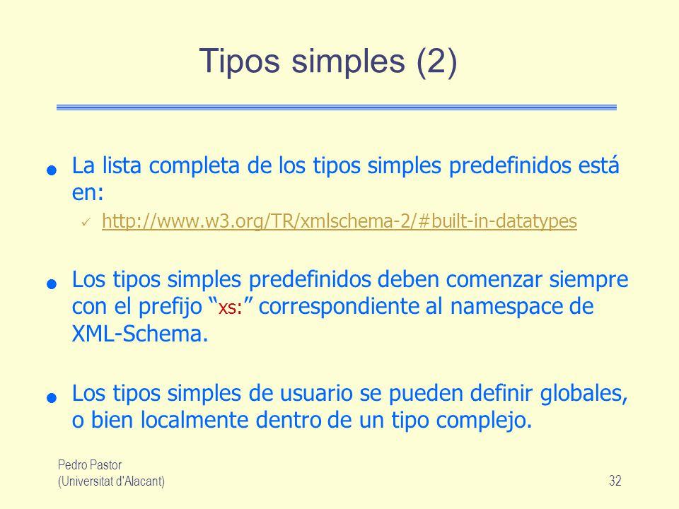 Pedro Pastor (Universitat d Alacant)32 Tipos simples (2) La lista completa de los tipos simples predefinidos está en: http://www.w3.org/TR/xmlschema-2/#built-in-datatypes Los tipos simples predefinidos deben comenzar siempre con el prefijo xs: correspondiente al namespace de XML-Schema.