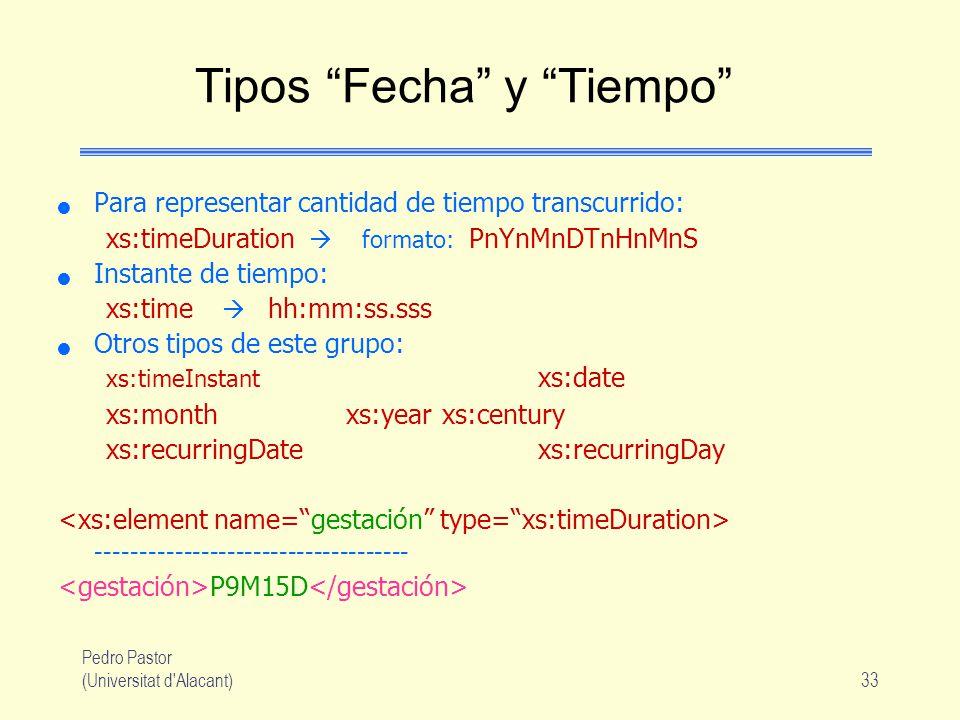 Pedro Pastor (Universitat d Alacant)33 Tipos Fecha y Tiempo Para representar cantidad de tiempo transcurrido: xs:timeDuration formato: PnYnMnDTnHnMnS Instante de tiempo: xs:time hh:mm:ss.sss Otros tipos de este grupo: xs:timeInstant xs:date xs:monthxs:yearxs:century xs:recurringDatexs:recurringDay ------------------------------------ P9M15D