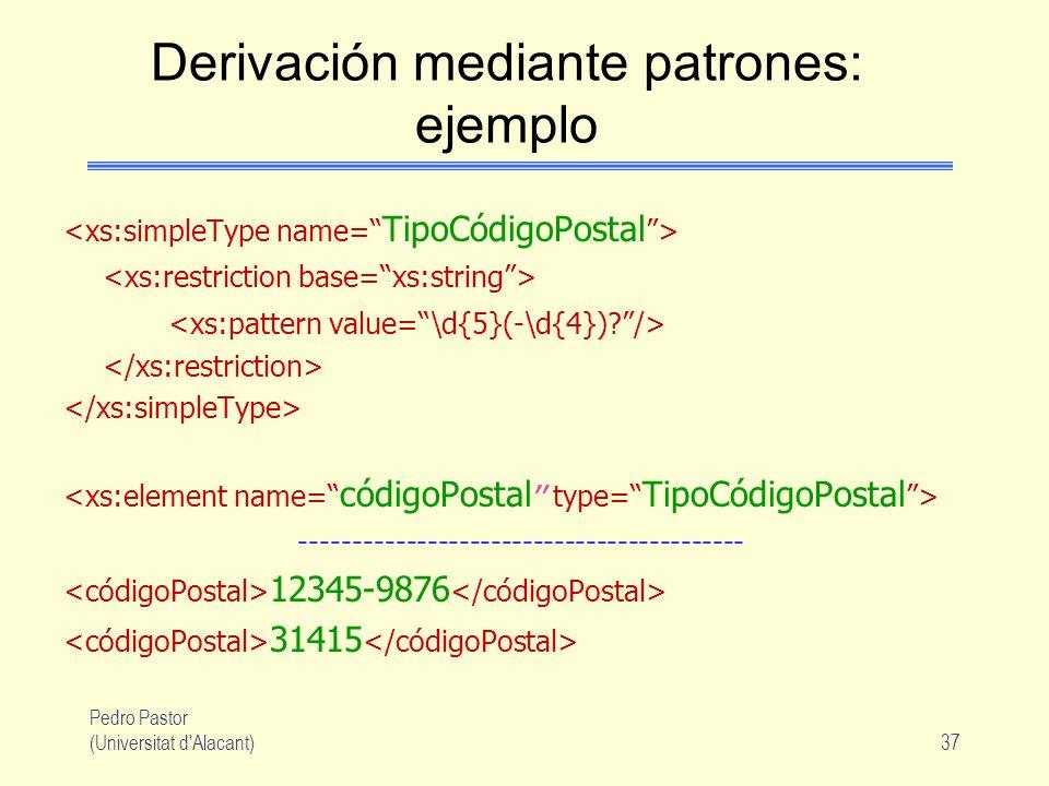 Pedro Pastor (Universitat d Alacant)37 Derivación mediante patrones: ejemplo ------------------------------------------ 12345-9876 31415