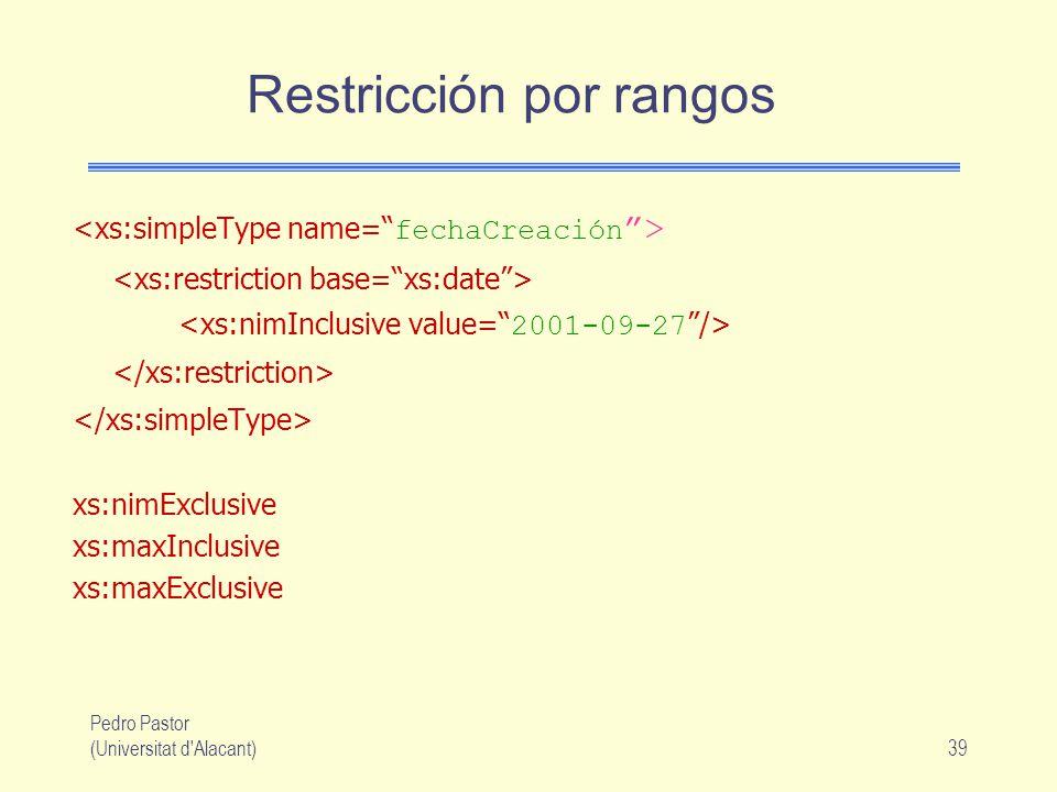Pedro Pastor (Universitat d Alacant)39 Restricción por rangos xs:nimExclusive xs:maxInclusive xs:maxExclusive