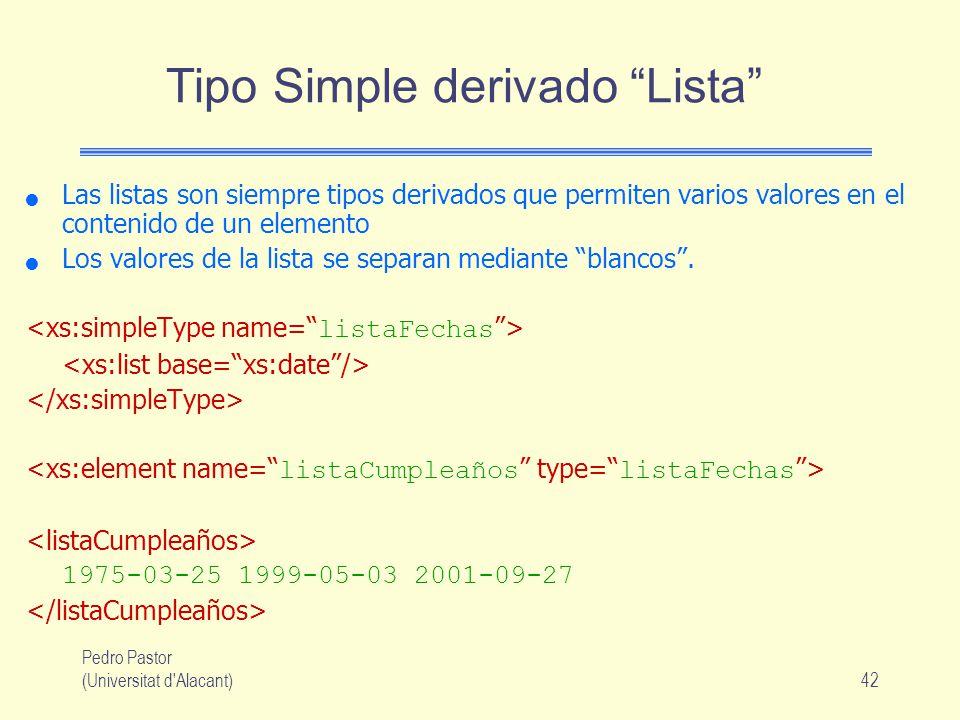 Pedro Pastor (Universitat d Alacant)42 Tipo Simple derivado Lista Las listas son siempre tipos derivados que permiten varios valores en el contenido de un elemento Los valores de la lista se separan mediante blancos.