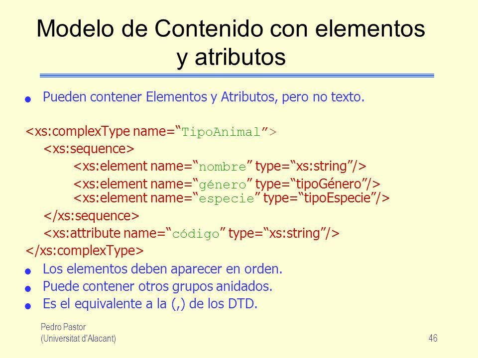 Pedro Pastor (Universitat d Alacant)46 Modelo de Contenido con elementos y atributos Pueden contener Elementos y Atributos, pero no texto.