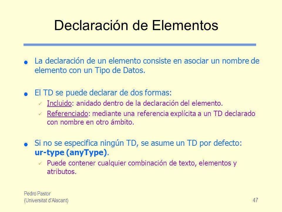 Pedro Pastor (Universitat d Alacant)47 Declaración de Elementos La declaración de un elemento consiste en asociar un nombre de elemento con un Tipo de Datos.