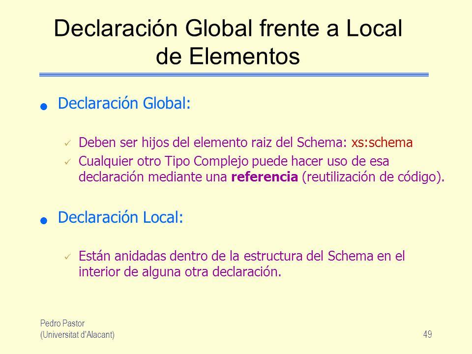 Pedro Pastor (Universitat d Alacant)49 Declaración Global frente a Local de Elementos Declaración Global: Deben ser hijos del elemento raiz del Schema: xs:schema Cualquier otro Tipo Complejo puede hacer uso de esa declaración mediante una referencia (reutilización de código).