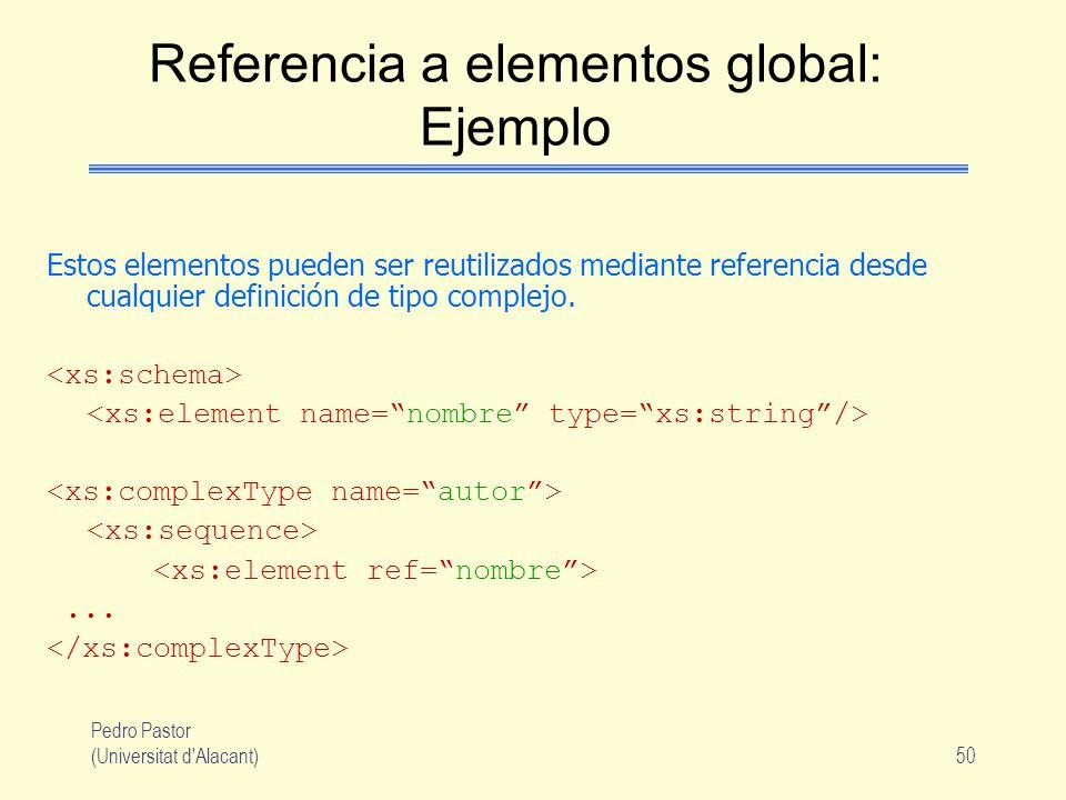 Pedro Pastor (Universitat d Alacant)50 Referencia a elementos global: Ejemplo Estos elementos pueden ser reutilizados mediante referencia desde cualquier definición de tipo complejo....