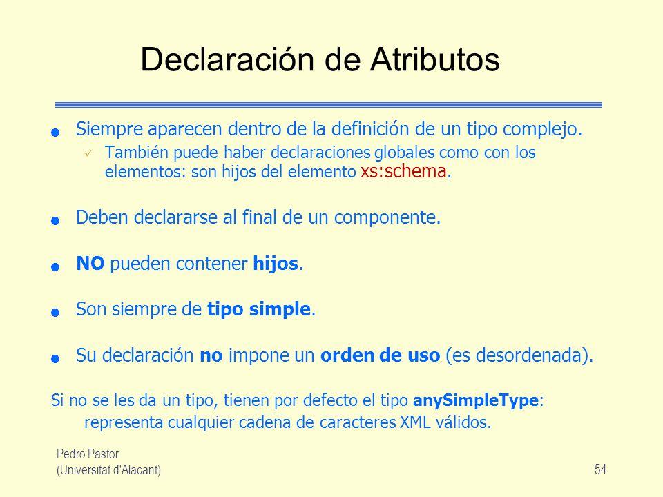 Pedro Pastor (Universitat d Alacant)54 Declaración de Atributos Siempre aparecen dentro de la definición de un tipo complejo.