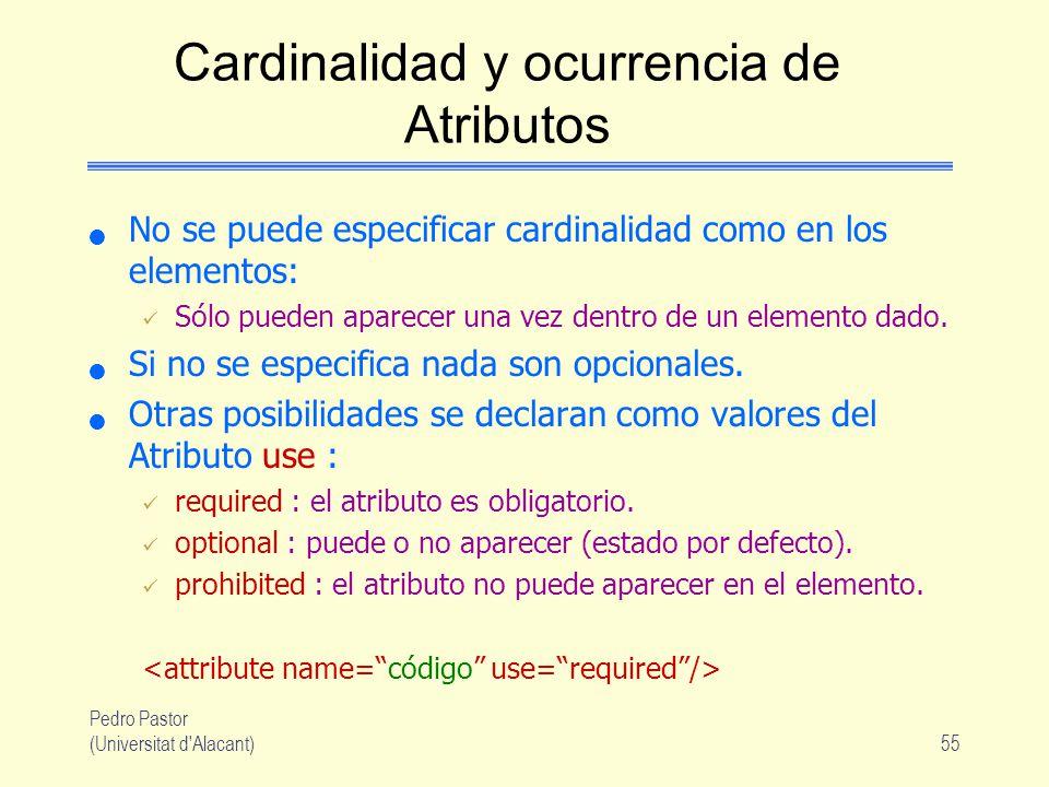 Pedro Pastor (Universitat d Alacant)55 Cardinalidad y ocurrencia de Atributos No se puede especificar cardinalidad como en los elementos: Sólo pueden aparecer una vez dentro de un elemento dado.