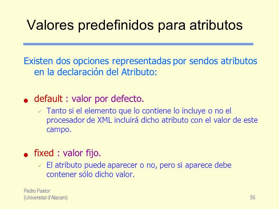Pedro Pastor (Universitat d Alacant)56 Valores predefinidos para atributos Existen dos opciones representadas por sendos atributos en la declaración del Atributo: default : valor por defecto.