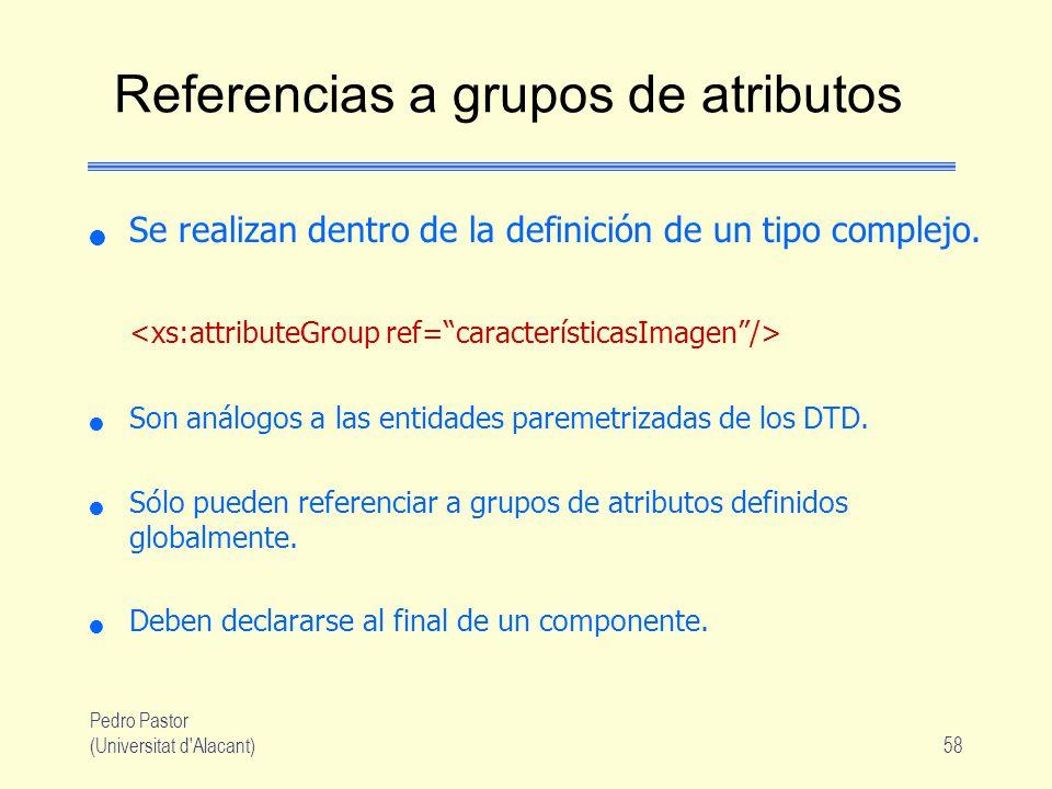 Pedro Pastor (Universitat d Alacant)58 Referencias a grupos de atributos Se realizan dentro de la definición de un tipo complejo.
