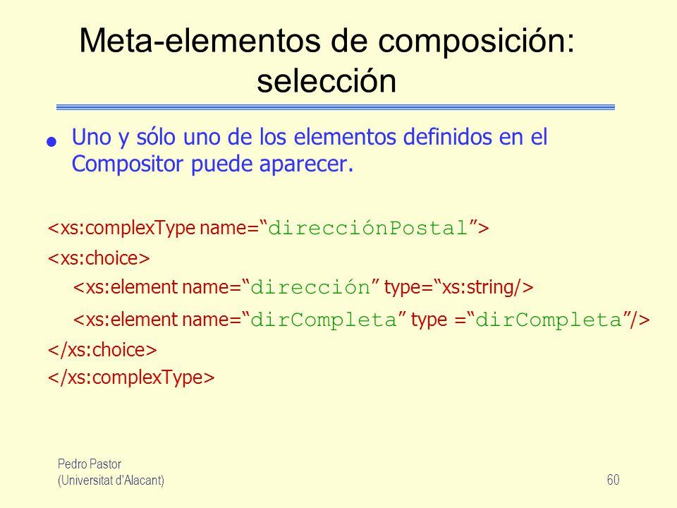 Pedro Pastor (Universitat d Alacant)60 Meta-elementos de composición: selección Uno y sólo uno de los elementos definidos en el Compositor puede aparecer.