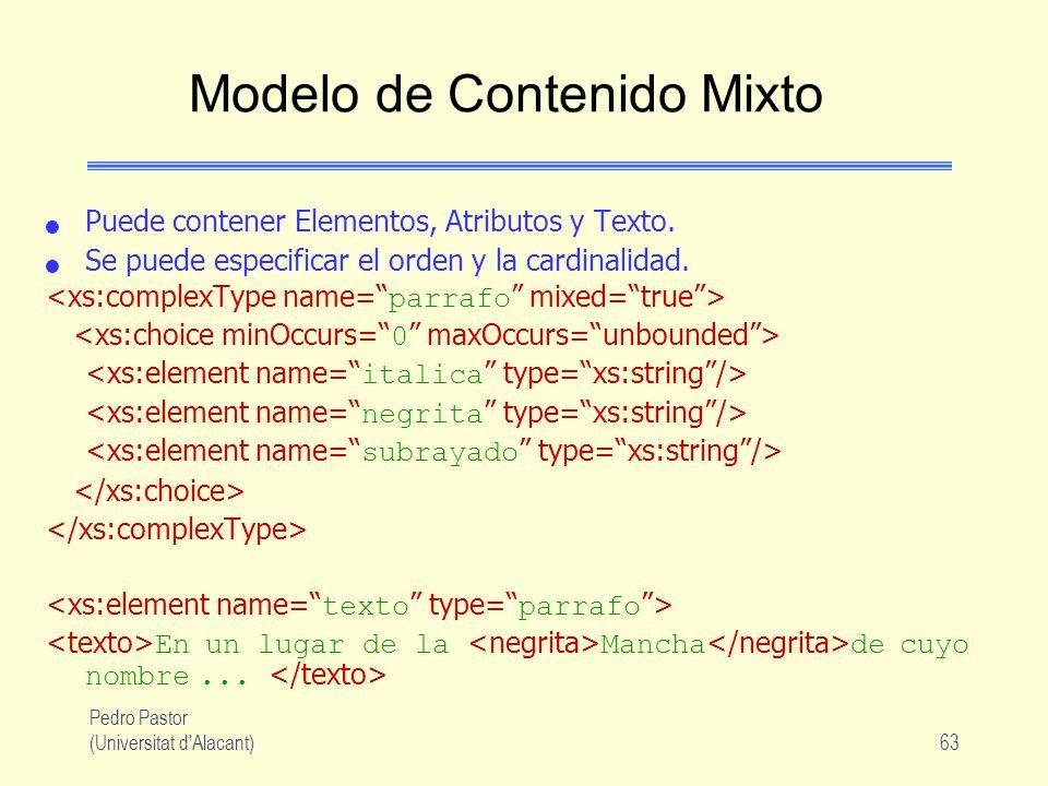 Pedro Pastor (Universitat d Alacant)63 Modelo de Contenido Mixto Puede contener Elementos, Atributos y Texto.