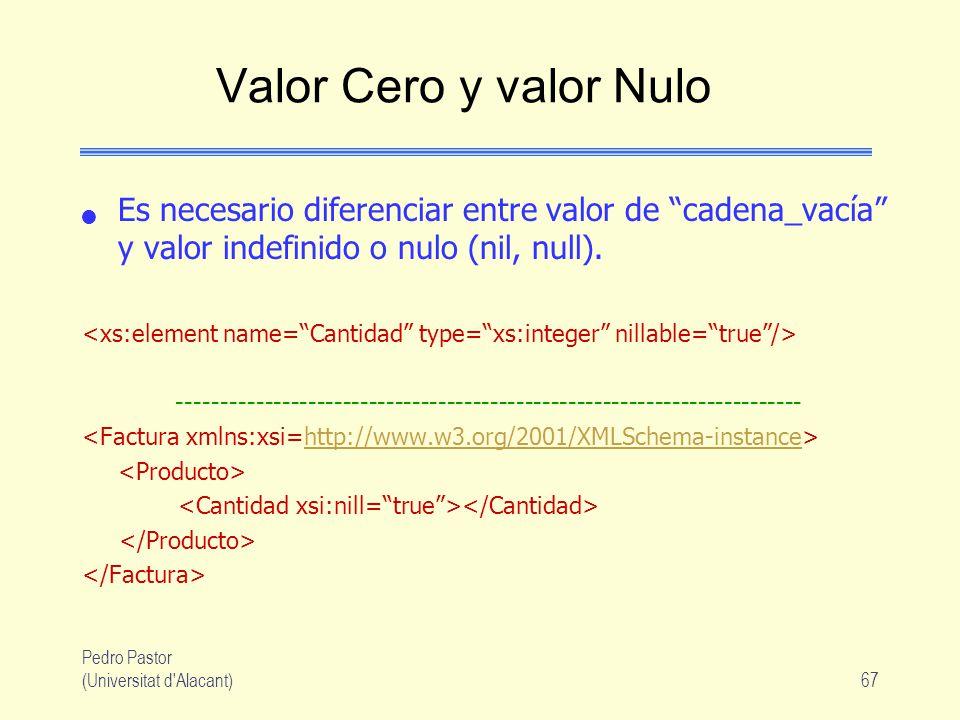 Pedro Pastor (Universitat d Alacant)67 Valor Cero y valor Nulo Es necesario diferenciar entre valor de cadena_vacía y valor indefinido o nulo (nil, null).