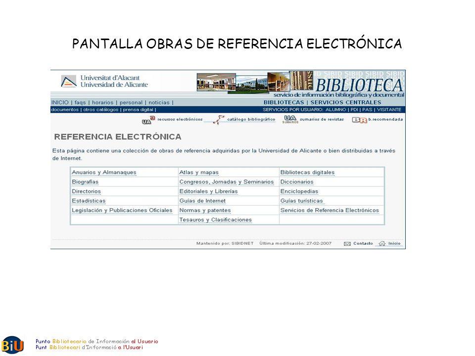 PANTALLA OBRAS DE REFERENCIA ELECTRÓNICA