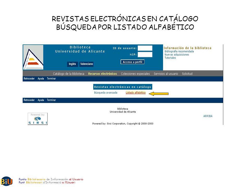 REVISTAS ELECTRÓNICAS EN CATÁLOGO BÚSQUEDA POR LISTADO ALFABÉTICO