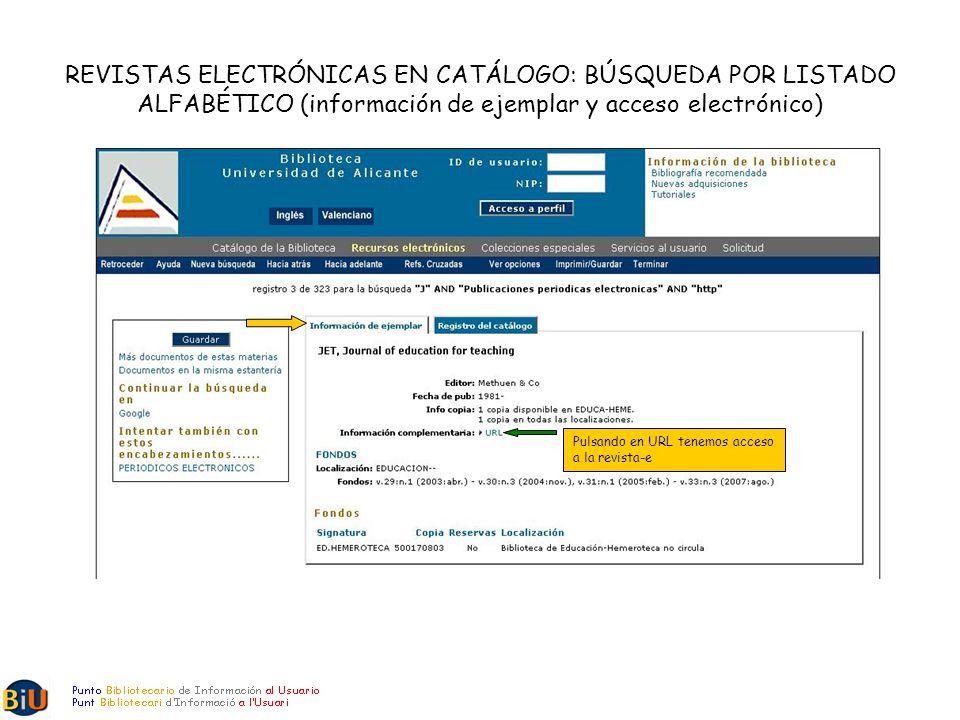 REVISTAS ELECTRÓNICAS EN CATÁLOGO: BÚSQUEDA POR LISTADO ALFABÉTICO (información de ejemplar y acceso electrónico) Pulsando en URL tenemos acceso a la revista-e