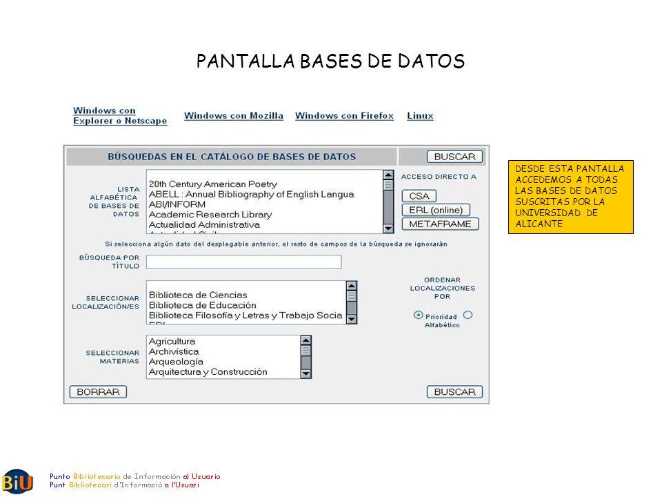 PANTALLA BASES DE DATOS DESDE ESTA PANTALLA ACCEDEMOS A TODAS LAS BASES DE DATOS SUSCRITAS POR LA UNIVERSIDAD DE ALICANTE