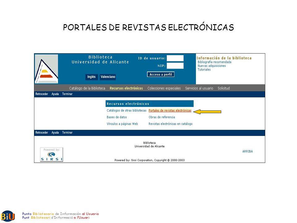 PORTALES DE REVISTAS ELECTRÓNICAS