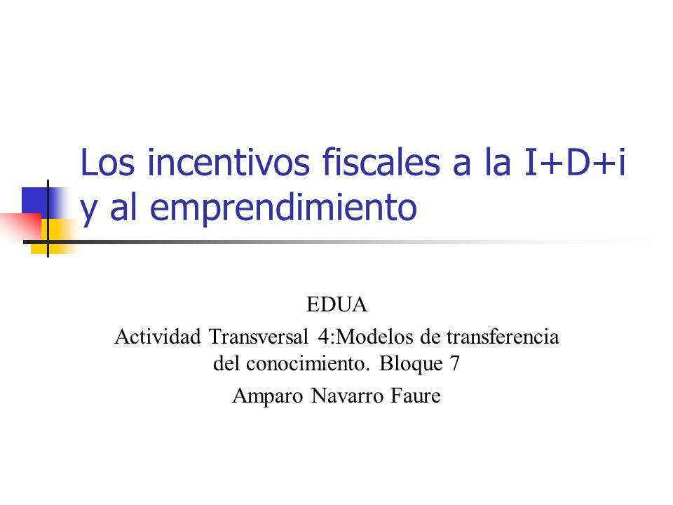 Financiación de la I+D+i Financiación Pública Presupuestos Generales del Estado, de las CCAA y de la UE Subvenciones Incentivos fiscales a las empresas Financiación privada Actividades propias de I+D+i Contratos de transferencia con Centros de investigación