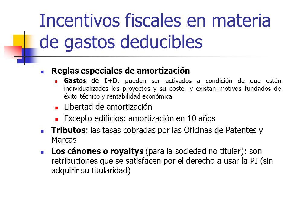 Incentivos fiscales en materia de gastos deducibles Reglas especiales de amortización Gastos de I+D: pueden ser activados a condición de que estén ind