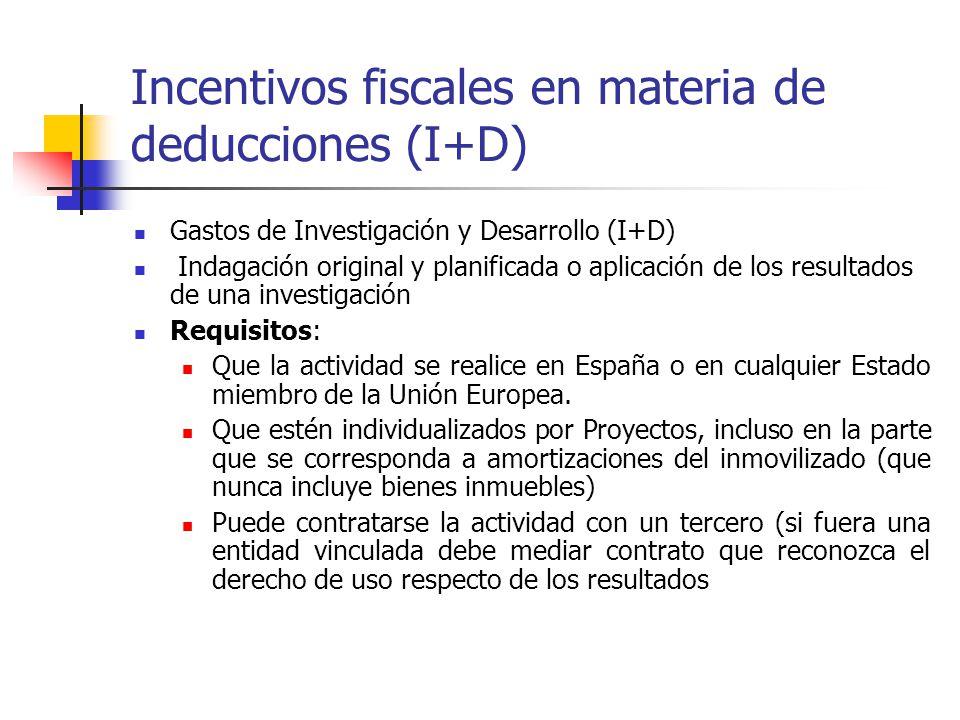 Incentivos fiscales en materia de deducciones (I+D) Gastos de Investigación y Desarrollo (I+D) Indagación original y planificada o aplicación de los r