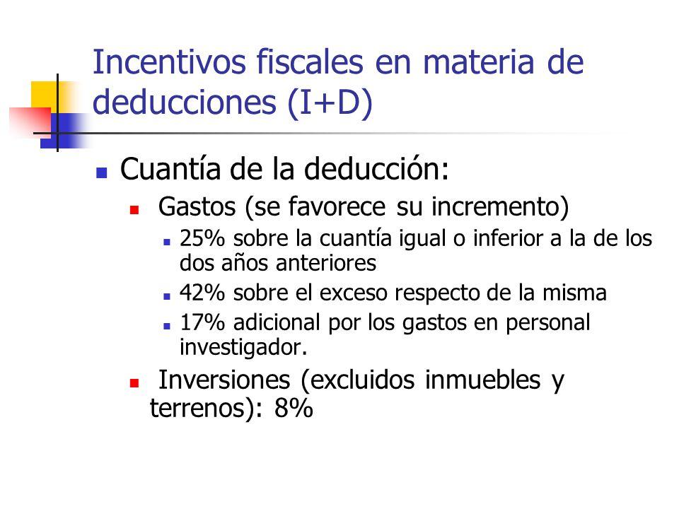Incentivos fiscales en materia de deducciones (I+D) Cuantía de la deducción: Gastos (se favorece su incremento) 25% sobre la cuantía igual o inferior