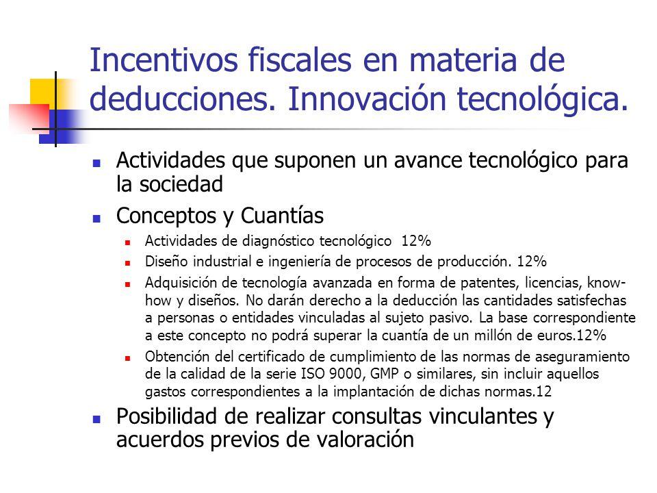 Incentivos fiscales en materia de deducciones. Innovación tecnológica. Actividades que suponen un avance tecnológico para la sociedad Conceptos y Cuan