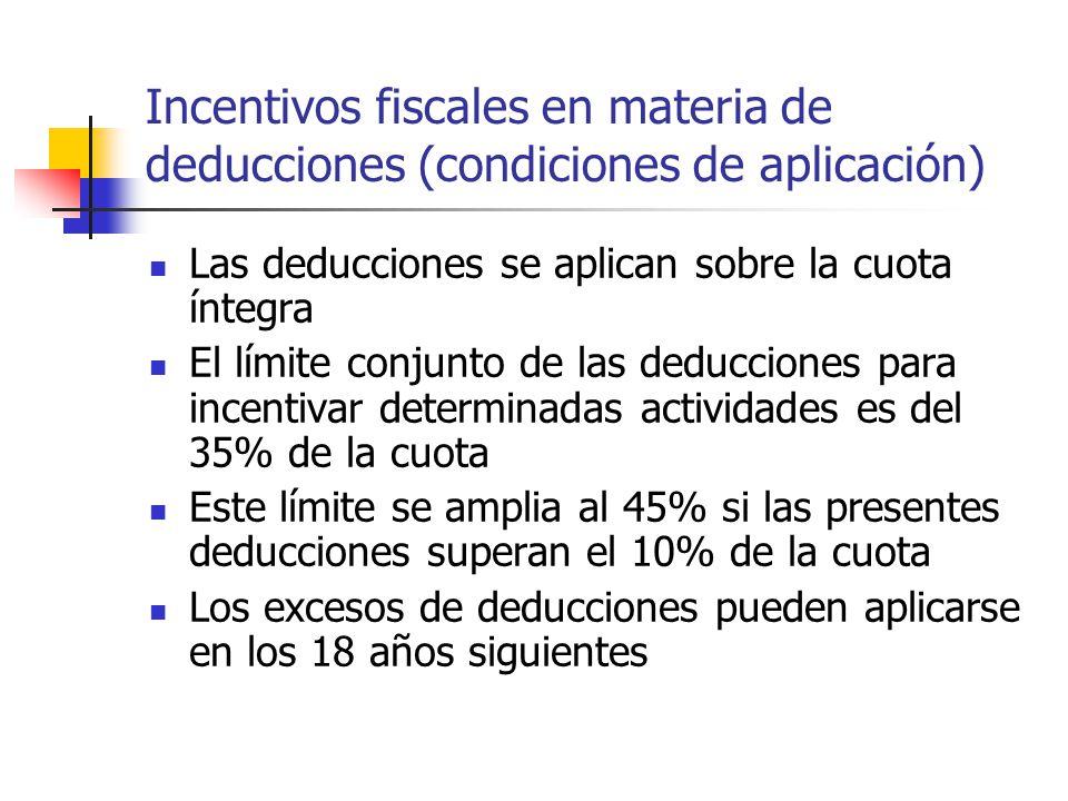 Incentivos fiscales en materia de deducciones (condiciones de aplicación) Las deducciones se aplican sobre la cuota íntegra El límite conjunto de las