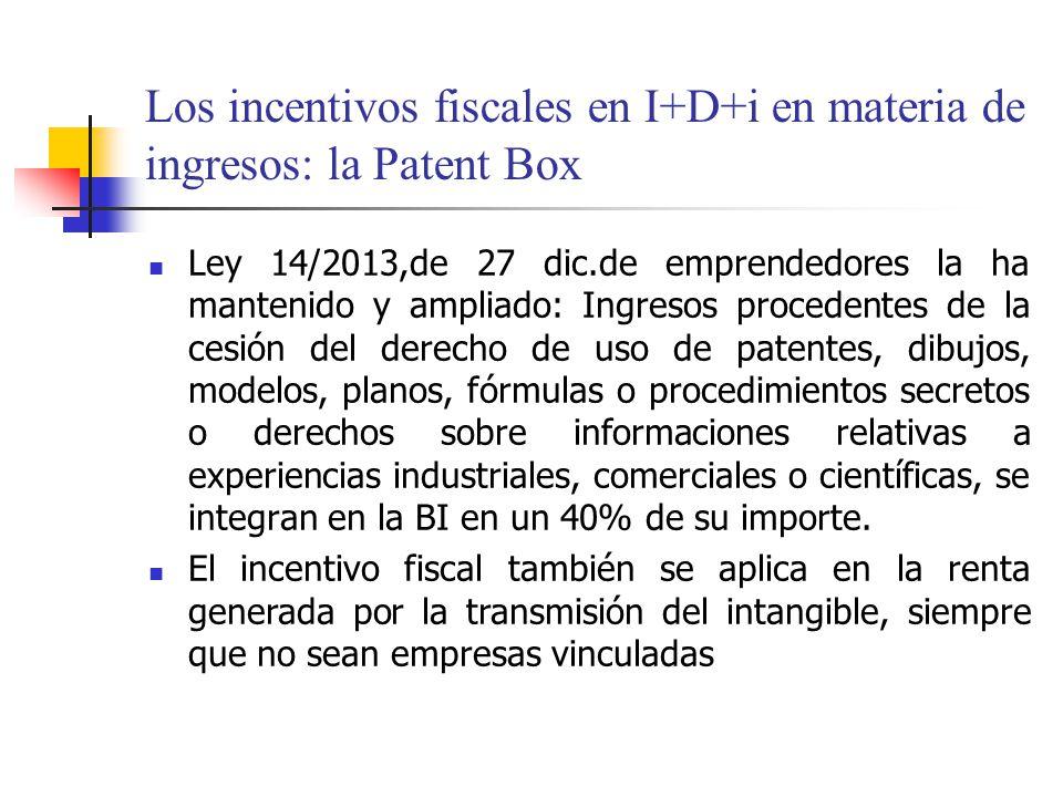 Los incentivos fiscales en I+D+i en materia de ingresos: la Patent Box Ley 14/2013,de 27 dic.de emprendedores la ha mantenido y ampliado: Ingresos pro