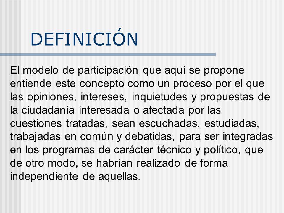 DEFINICIÓN El modelo de participación que aquí se propone entiende este concepto como un proceso por el que las opiniones, intereses, inquietudes y propuestas de la ciudadanía interesada o afectada por las cuestiones tratadas, sean escuchadas, estudiadas, trabajadas en común y debatidas, para ser integradas en los programas de carácter técnico y político, que de otro modo, se habrían realizado de forma independiente de aquellas.