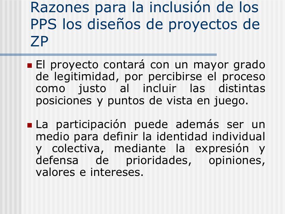 Razones para la inclusión de los PPS los diseños de proyectos de ZP El proyecto contará con un mayor grado de legitimidad, por percibirse el proceso como justo al incluir las distintas posiciones y puntos de vista en juego.