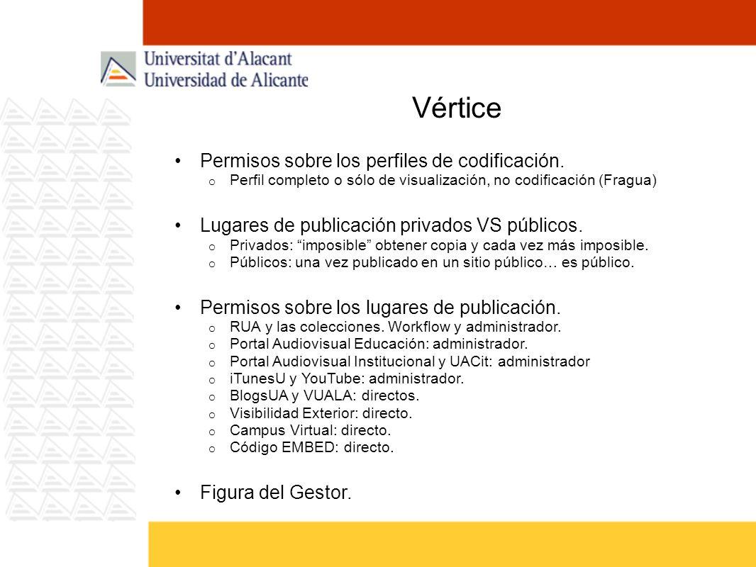 Vértice Permisos sobre los perfiles de codificación. o Perfil completo o sólo de visualización, no codificación (Fragua) Lugares de publicación privad