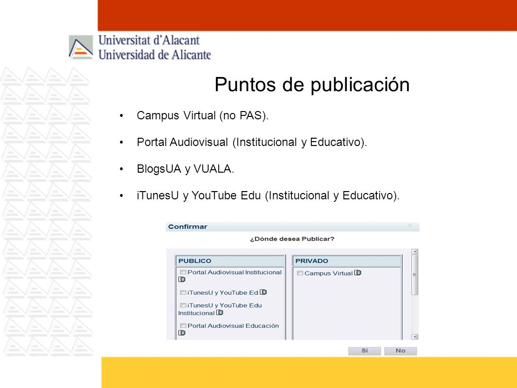 Puntos de publicación Campus Virtual (no PAS). Portal Audiovisual (Institucional y Educativo). BlogsUA y VUALA. iTunesU y YouTube Edu (Institucional y