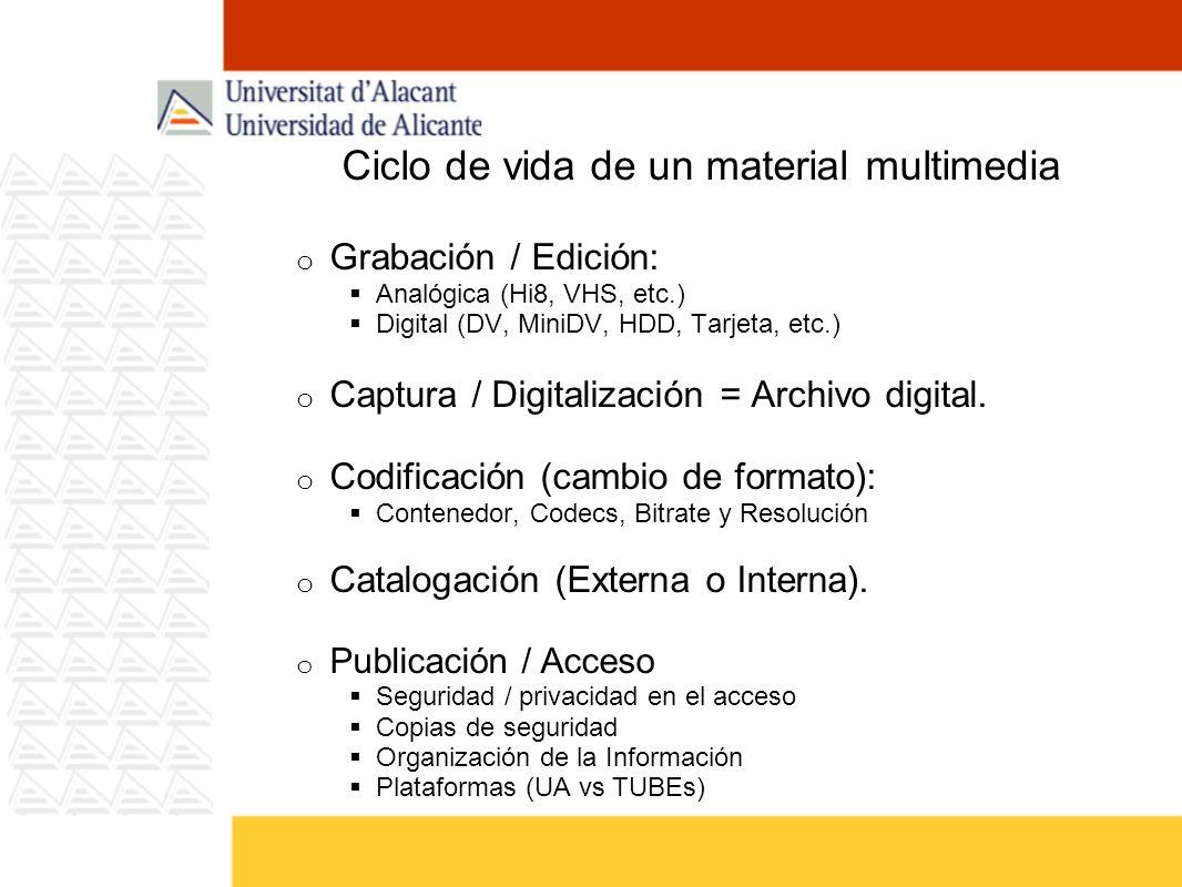 Ciclo de vida de un material multimedia o Grabación / Edición: Analógica (Hi8, VHS, etc.) Digital (DV, MiniDV, HDD, Tarjeta, etc.) o Captura / Digital
