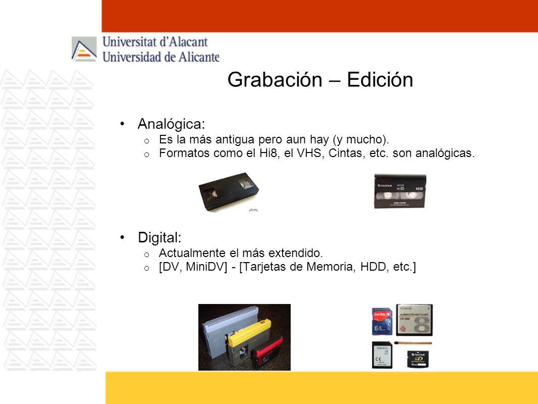 Digitalización / Captura Fuente Analógica -> Digitalización o Se necesita una tarjeta digitalizadora.