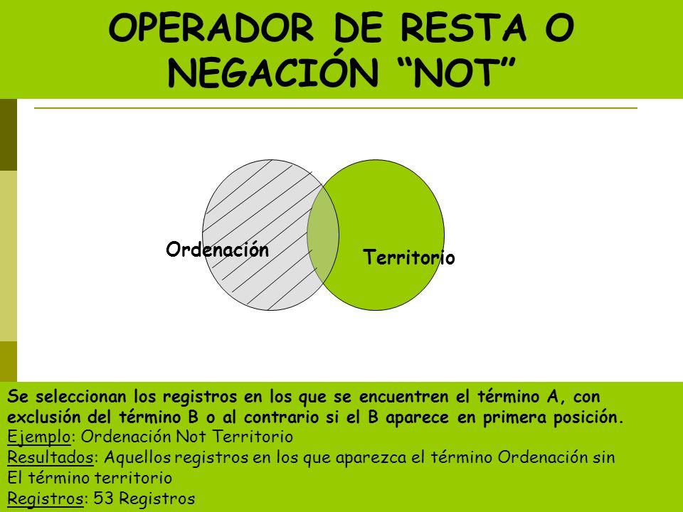 OPERADOR DE RESTA O NEGACIÓN NOT Se seleccionan los registros en los que se encuentren el término A, con exclusión del término B o al contrario si el