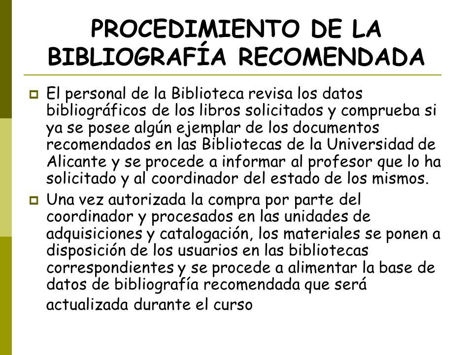 PROCEDIMIENTO DE LA BIBLIOGRAFÍA RECOMENDADA El personal de la Biblioteca revisa los datos bibliográficos de los libros solicitados y comprueba si ya